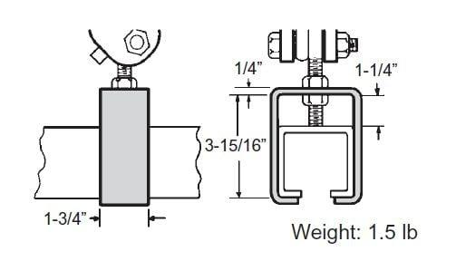 unibilt 8672 track hanger clamp