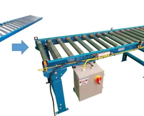 Retrofit gravity roller conveyor to motorized