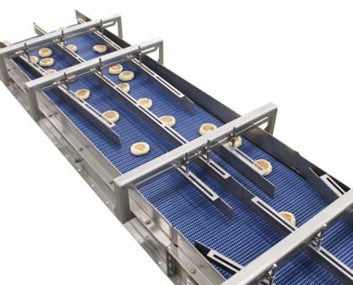 Food grade belt conveyor with guides