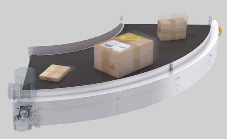 Curved conveyor belt from Ultimation and Interroll