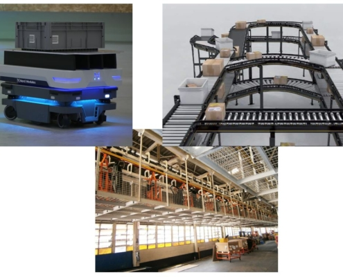 Comparing mobile robots, floor conveyors and overhead conveyors